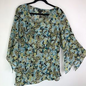Lane Bryant Sheer Bell Sleeve Asymmetrical Top